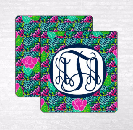 Peonies and Petals Monogram Coasters
