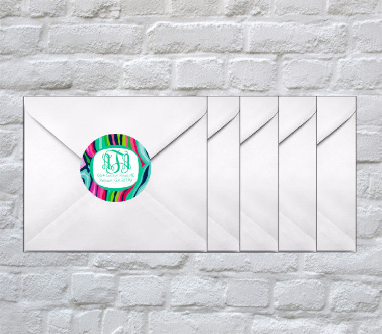 Zebra Swirl Monogram + Address Stickers