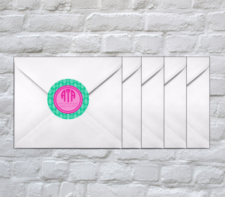 Pagoda Monogram + Address Stickers