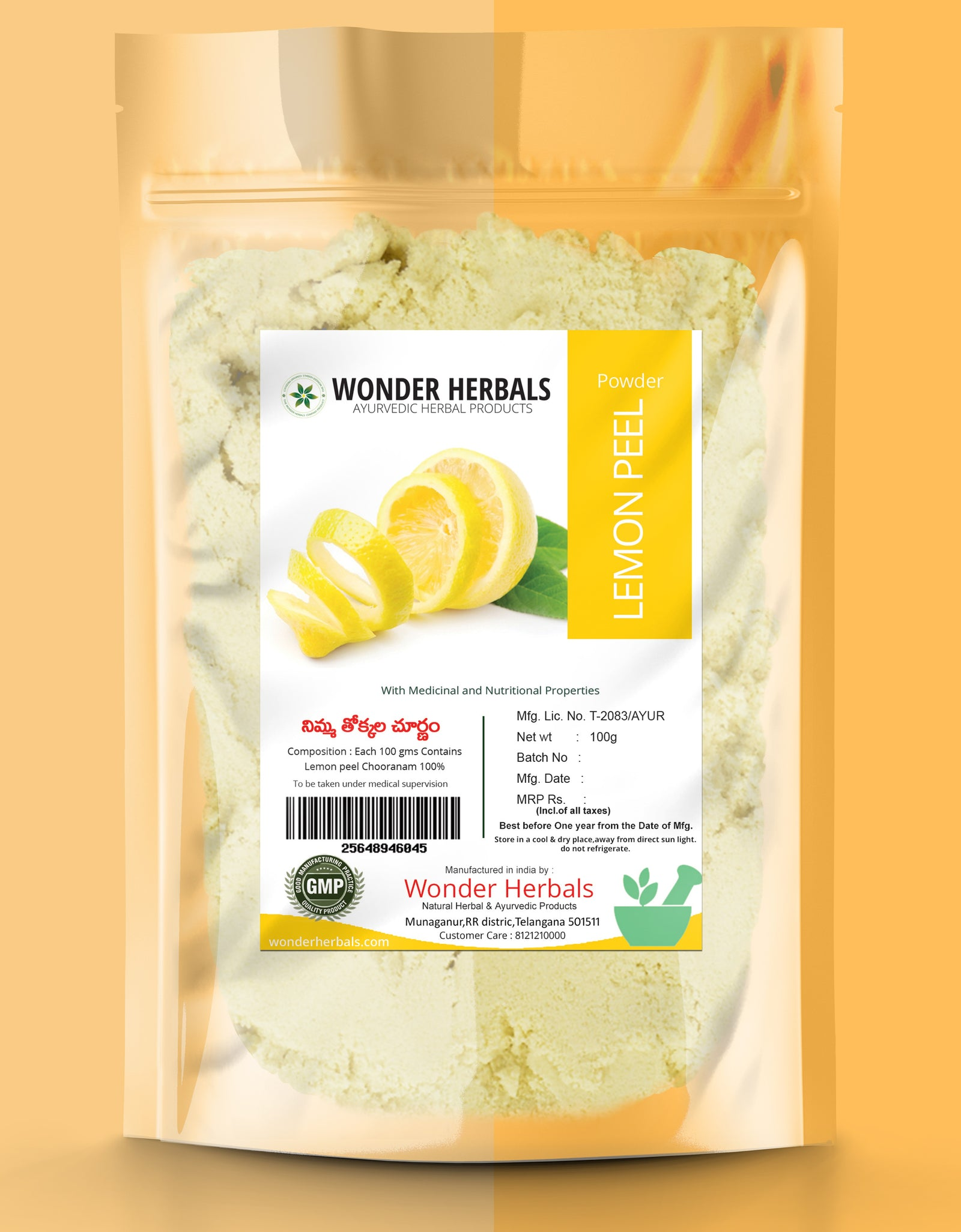 Nimmathokkala (Lemon Peel) Powder - Wonderherbals