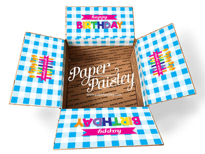 Buffalo Check Happy Birthday Care Package Sticker Kit