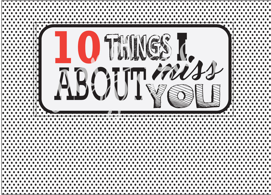 10 Things I Miss About You Care Package Sticker Kit