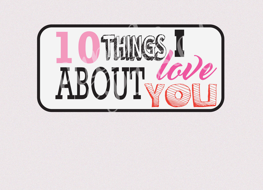 10 Things I Love About You Care Package Sticker Kit
