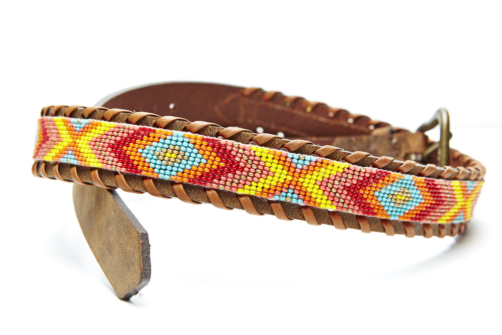 Coral Chevron beaded camp belt close