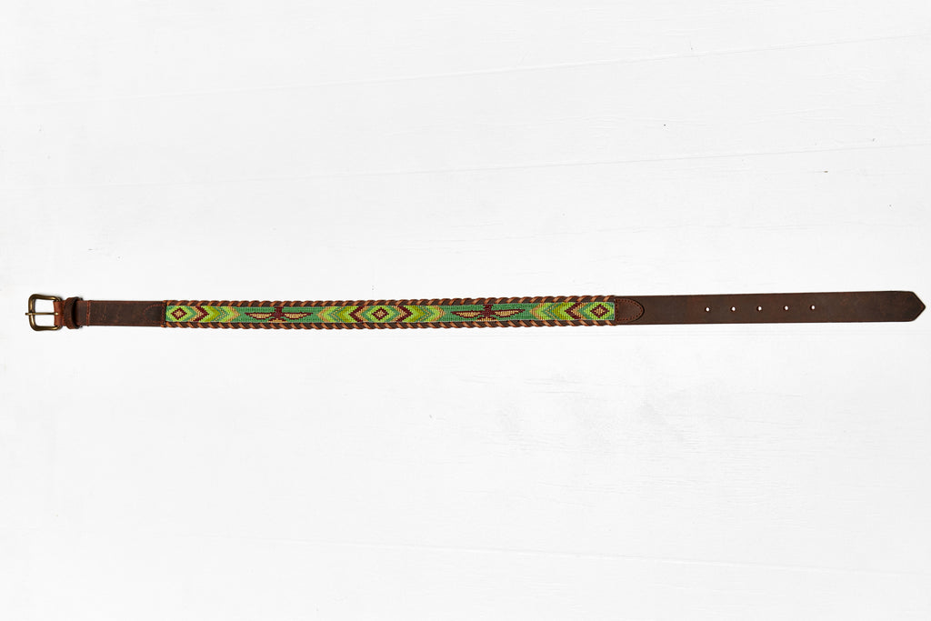 Skybird Greens beaded Camp belt wide