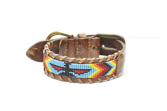 Rainbow Skybird Beaded Dog collar close