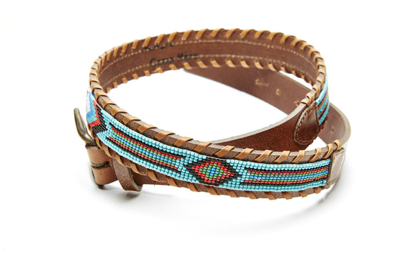 New York beaded Destination belt close