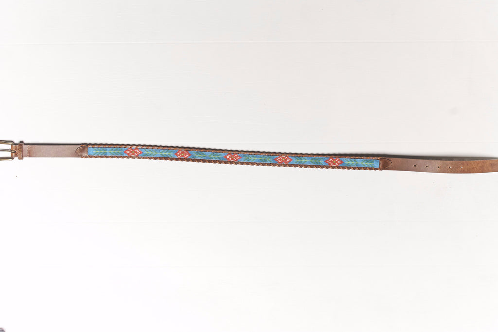 Hibiscus beaded Camp belt wide