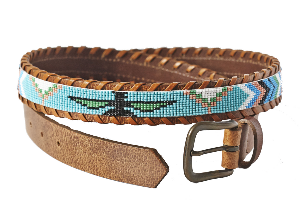 Turquoise Skybird beaded belt close