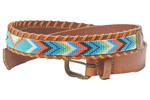 Turquoise Skybird beaded belt wide
