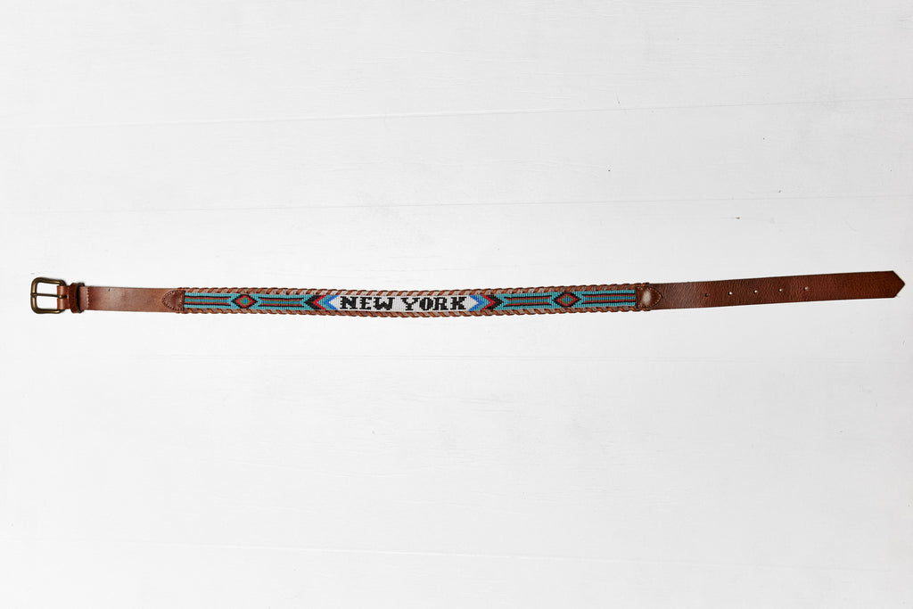 New York beaded Destination belt wide