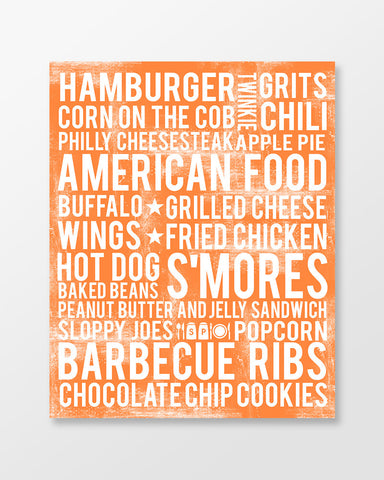 American Poster - American Foods - USA | Subway Style Word Art - MartaDarbyDesigns
