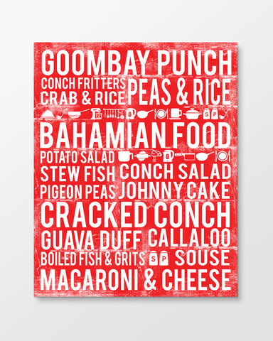 Bahamian Food Subway Art Print -  Cherry Color Poster