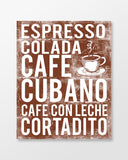 Cuba Poster - Cuban Coffees - Chocolate Color