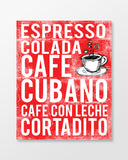 Cuba Poster - Cuban Coffees - Cherry Color