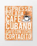 Cuba Poster - Cuban Coffees | Subway Style Word Art - MartaDarbyDesigns