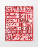 Italian Food - Subway Art Print - Cherry Color Poster