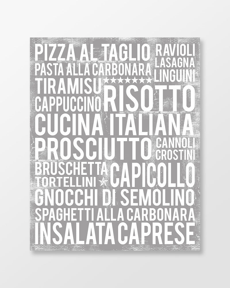 Italian Food - Subway Art Print - Ash Grey Color Poster