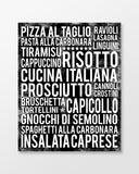 Italian Food - Subway Art Print - Black Color Poster