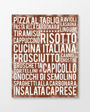 Italian Food - Subway Art Print - Chocolate Color Poster