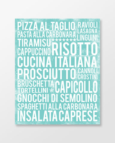 Italian Kitchen Wall Art - Italian Food Print - Italian Word Art