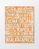 Italian Food - Subway Art Print - Tangerine Color Poster