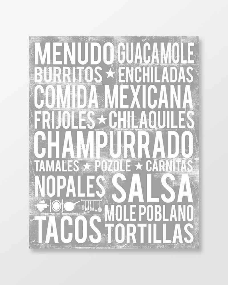Mexico Poster - Mexican Foods | Subway Style Word Art - MartaDarbyDesigns