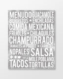 Mexican Food - Subway Art Print - Ash Grey Color Poster