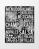 Mexican Food - Subway Art Print - Black Color Poster