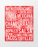 Mexican Food - Subway Art Print - Cherry Color Poster