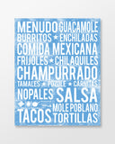 Mexican Food - Subway Art Print - Ocean Blue Color Poster