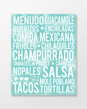 Mexican Food - Subway Art Print - Sea Foam Color Poster