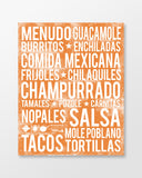 Mexican Food - Subway Art Print - Tangerine Color Poster