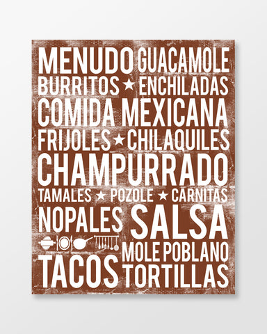 Mexican Food - Subway Art Print - Chocolate Color Poster