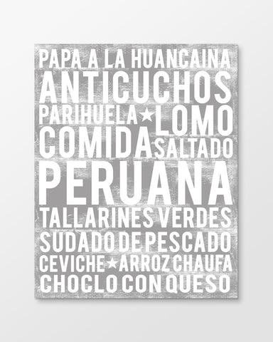Peruvian Food - Subway Art Print - Ash Grey Color Poster
