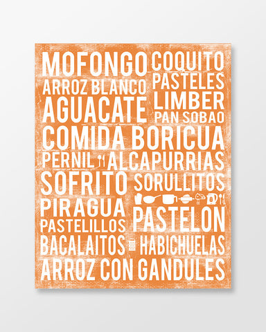 Puerto Rico Food - Subway Art Print - Tangerine Color Poster
