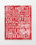 Scotland Poster - Scottish Foods - Cherry Color