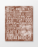 Scotland Poster - Scottish Foods | Subway Style Word Art - MartaDarbyDesigns