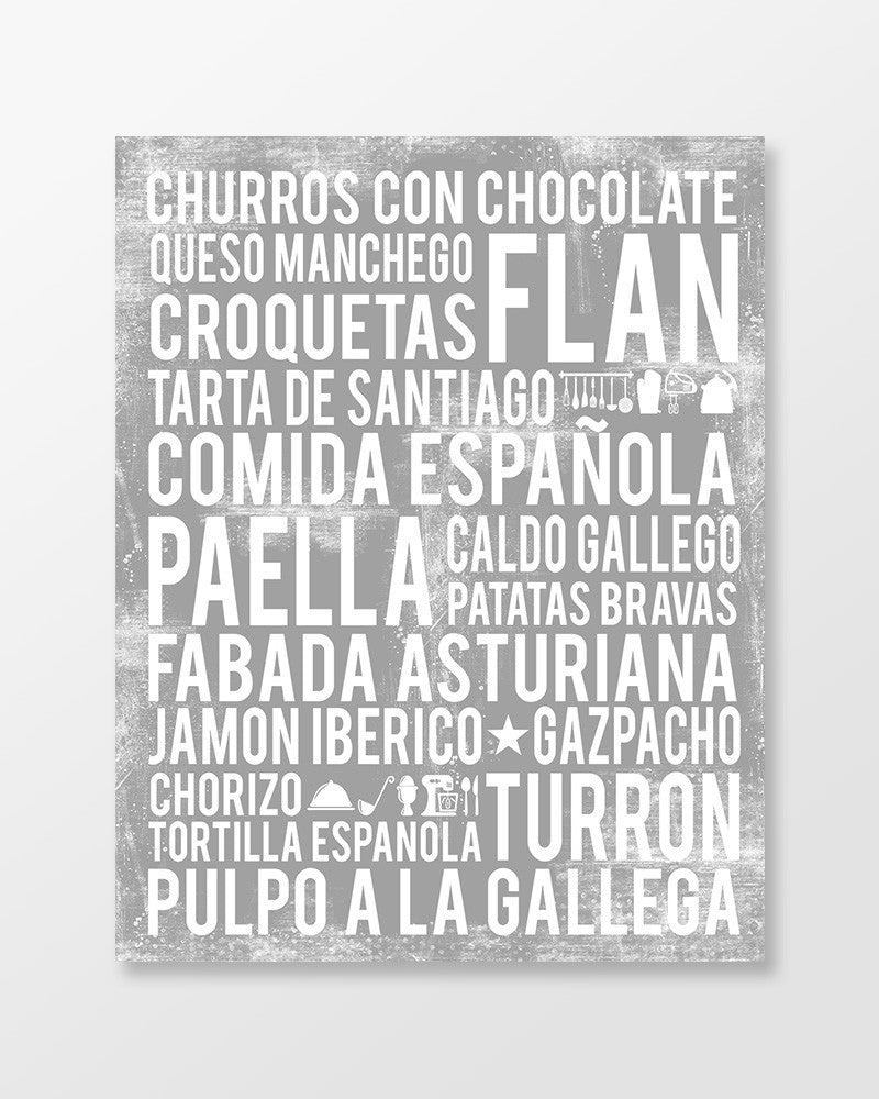 Spain Food - Subway Art Print - Ash Grey Color Poster
