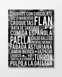 Spain Food - Subway Art Print - Black Color Poster