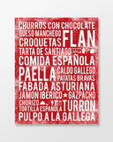 Spain Food - Subway Art Print - Cherry Color Poster