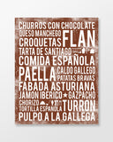 Spain Food - Subway Art Print - Chocolate Color Poster