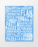 Spain Food - Subway Art Print - Ocean Blue Color Poster