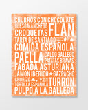 Spain Food - Subway Art Print - Tangerine Color Poster