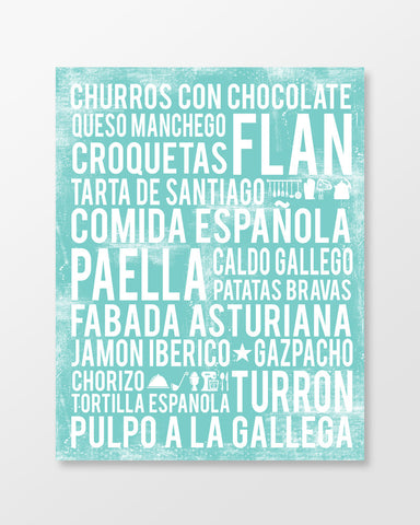 Spain Food - Subway Art Print - Sea Foam Color Poster