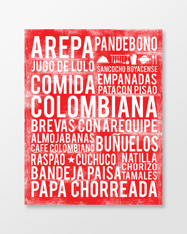 Colombia Poster - Colombian Foods | Subway Style Word Art - MartaDarbyDesigns