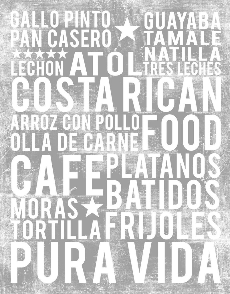Costa Rican Food Subway Art Print -  Ash Grey Color Poster