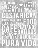Costa Rica Poster - Costa Rican Foods | Subway Style Word Art - MartaDarbyDesigns