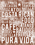 Costa Rican Food Subway Art Print -  Chocolate Color Poster