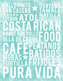 Costa Rican Food Subway Art Print -  Sea Foam Color Poster